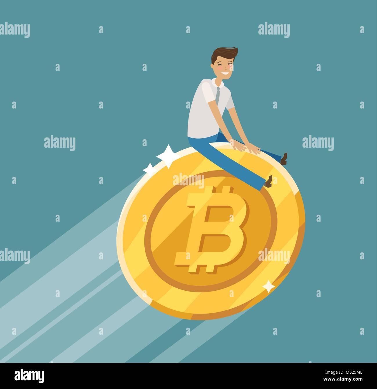 Concepto de negocio. Crypto blockchain Bitcoin moneda. Ilustración vectorial de dibujos animados Imagen De Stock