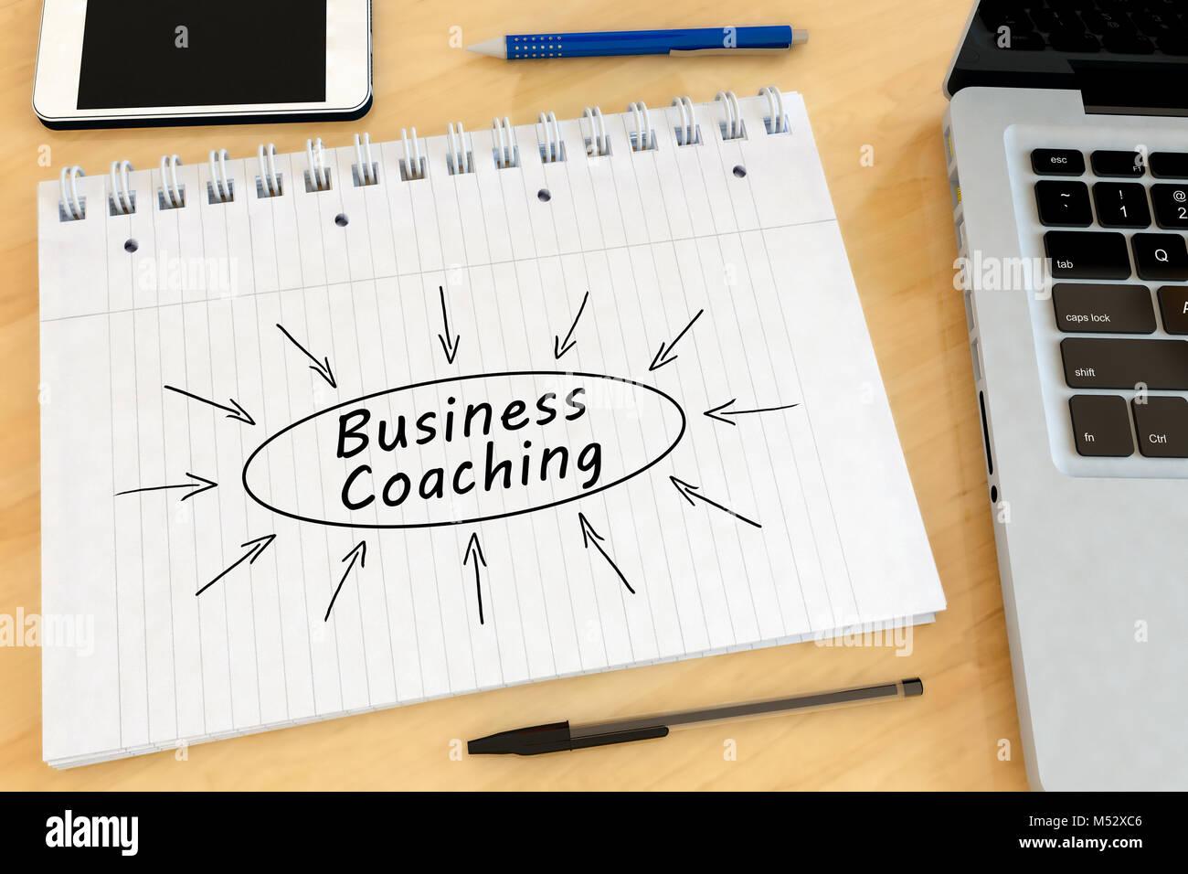 El coaching empresarial concepto de texto Imagen De Stock