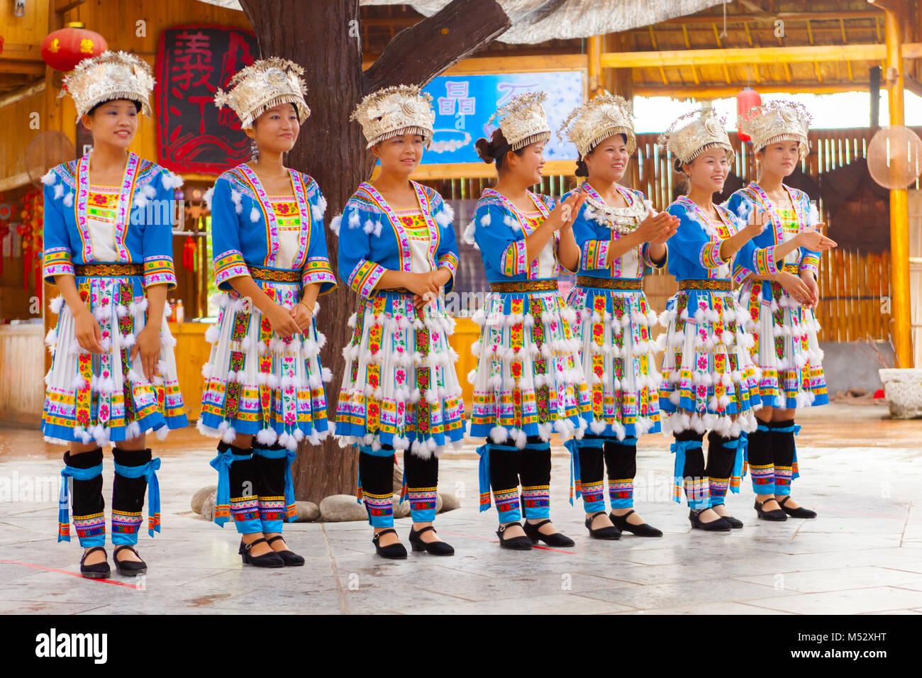 Las minorías Miao village Guilin Imagen De Stock