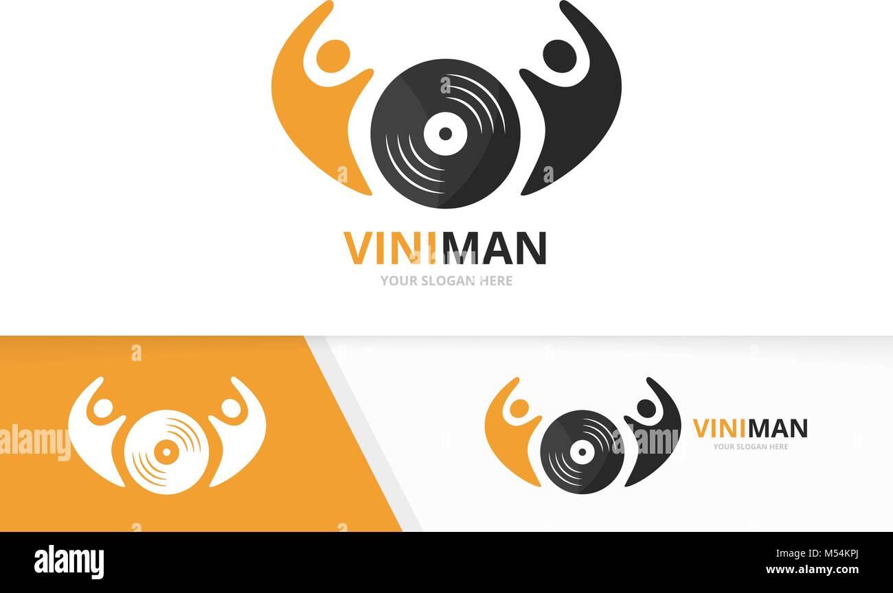 Vector Logo Combinación De Vinilo Y La Gente Registro Y Familia