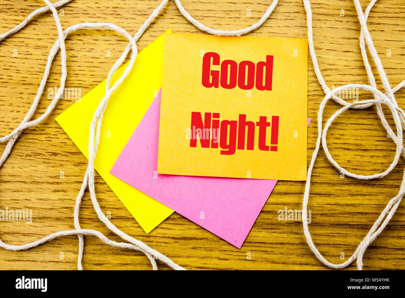 Buenas Noches Word Sobre Amarillo Nota Adhesiva En Fondo De