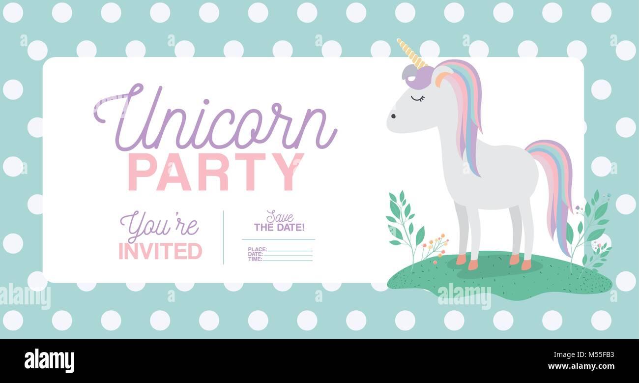 Tarjeta De Invitación A Una Fiesta De Unicornio Con