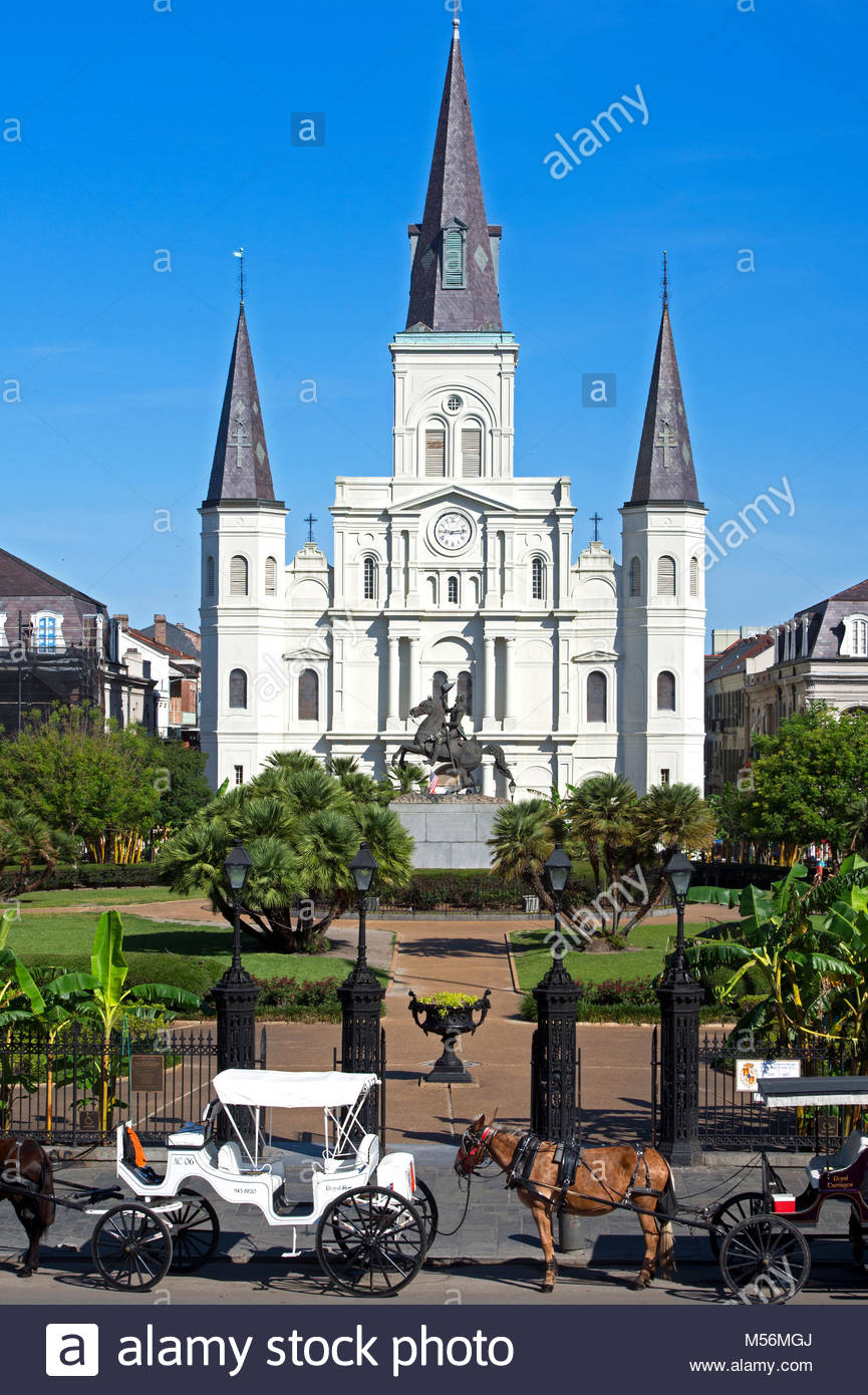 Estados Unidos, Louisiana, Nueva Orleans, el Barrio Francés, Cathedral-Basilica de San Luis, rey de Francia, también llamada la Catedral de St. Foto de stock