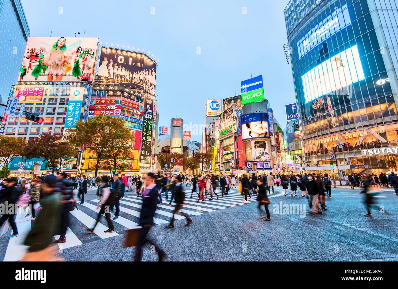 El cruce Shibuya Tokio Japón Hachiko Square Imagen De Stock