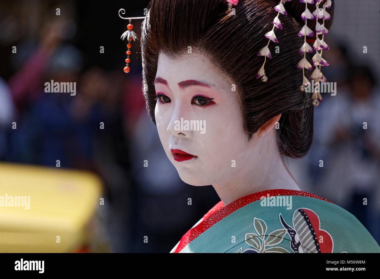La Daigyoretsu durante el festival Sanja Matsuri, Tokio, Japón. Imagen De Stock