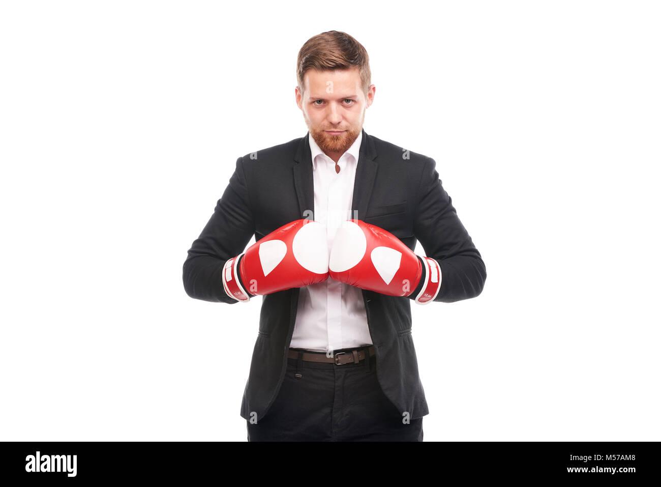 Empresario de guantes de boxeo Imagen De Stock