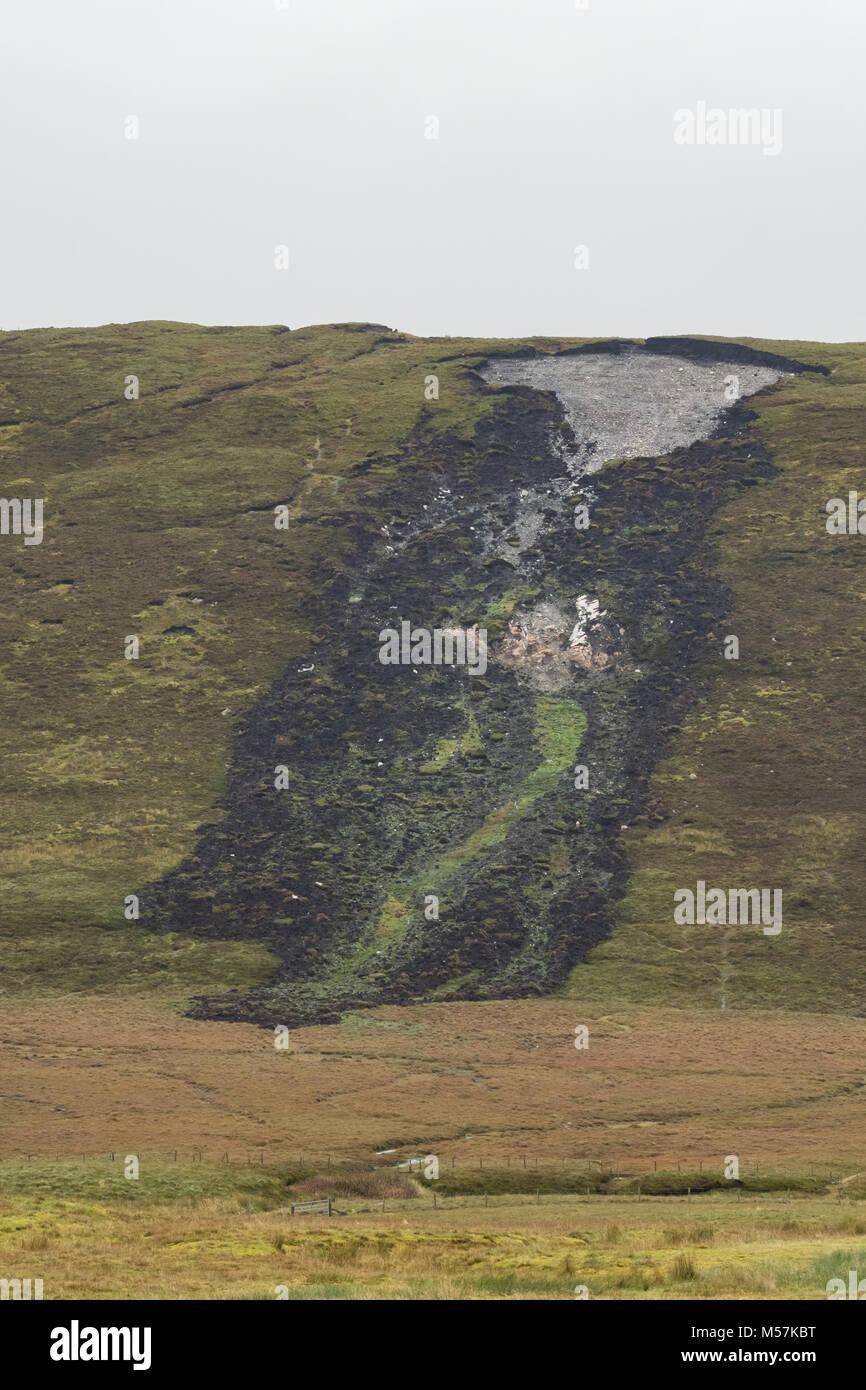 Bog burst o turba diapositiva de deslizamientos, Shetland Peninsular, Islas Shetland (Escocia, Reino Unido) Imagen De Stock