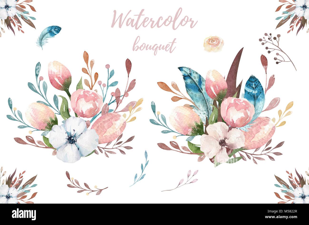 Acuarela Boho Ilustración Floral Bohemian Ramos De Flores