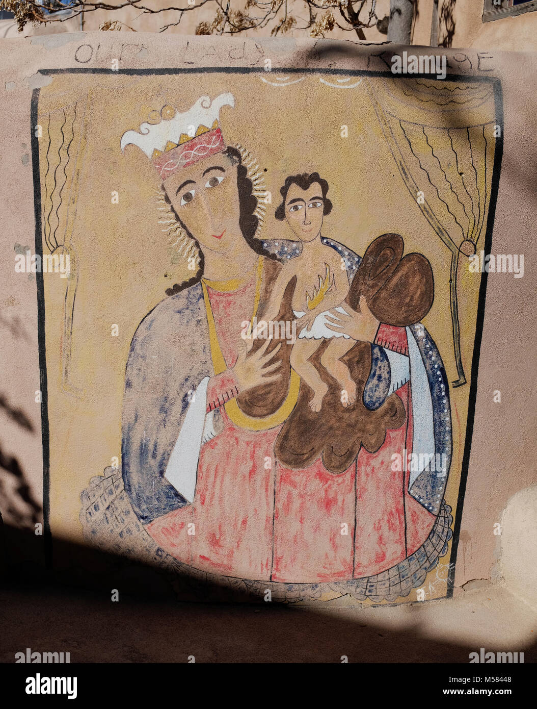 """Pintura sobre estuco """"Nuestra Señora de refugio"""" Imagen De Stock"""