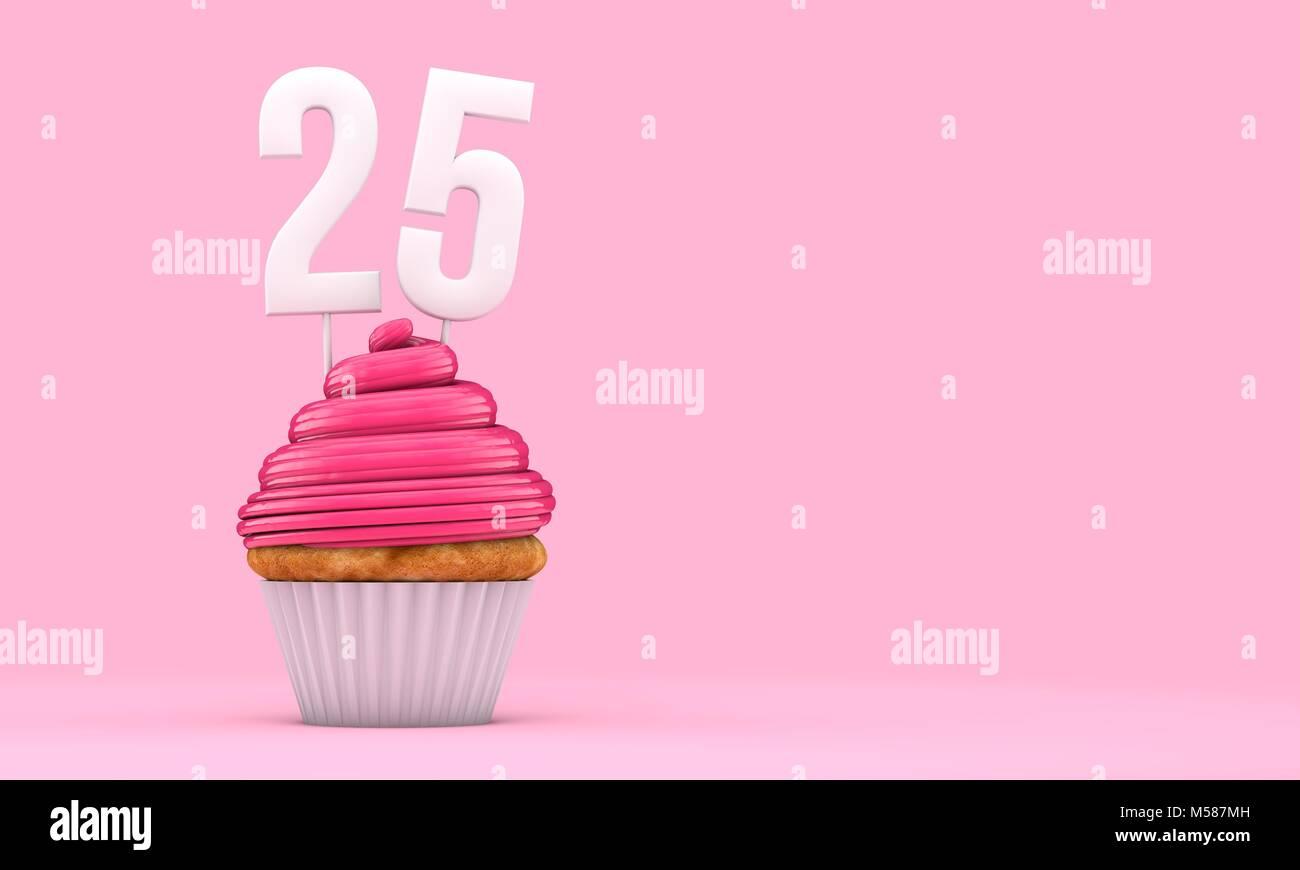 Celebracion Del Cumpleanos Numero 25 De Rosa Cupcake 3d Rendering