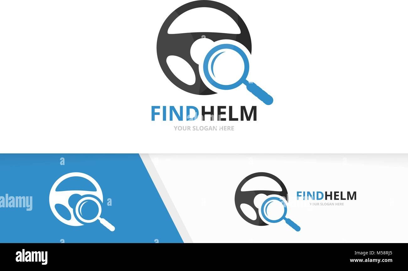 Coche vectorial helm y logotipo lupa combinación. Volante y espejo ...