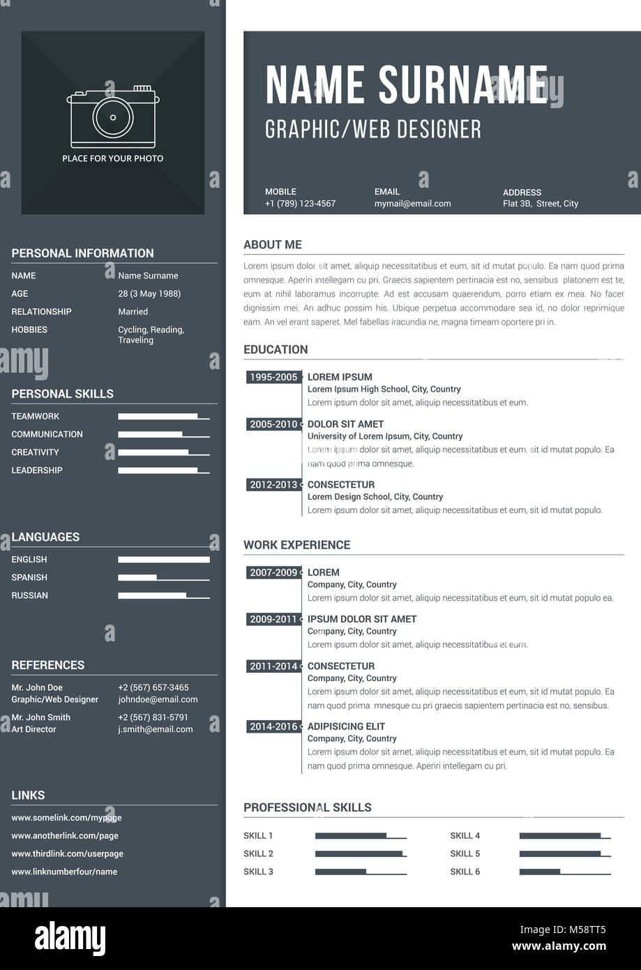 Un moderno4 una página plantilla reanudar con plazos para la ...