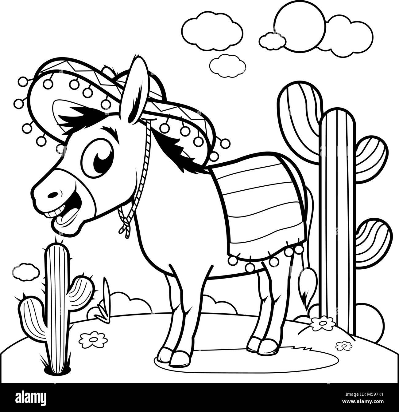 Burro Mexicano En El Desierto Libro Para Colorear De Blanco Y Negro