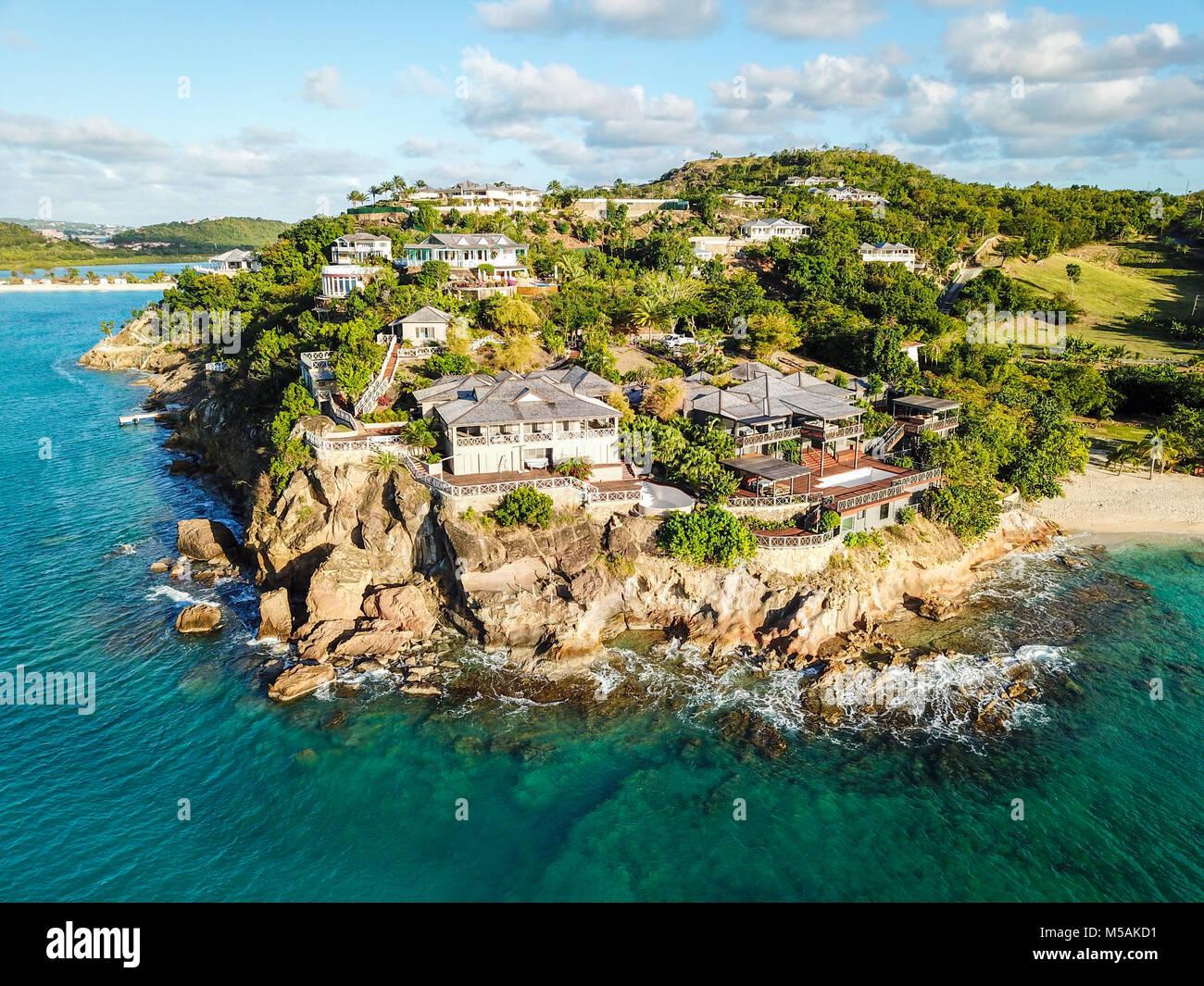 Giorgio Armani acantilado Retreat, Galley Bay Beach, Antigua Foto de stock