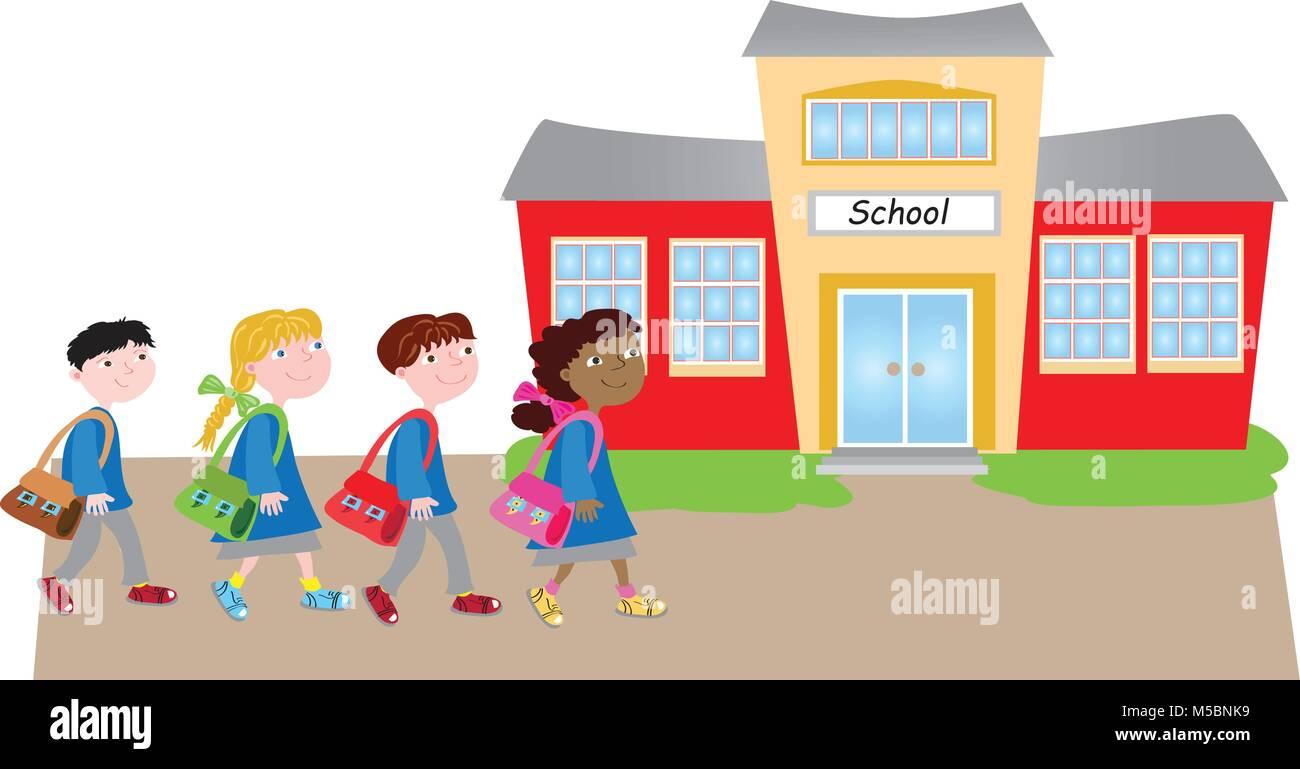 Back To School.Cuatro Dibujos Animados Caminando Felices