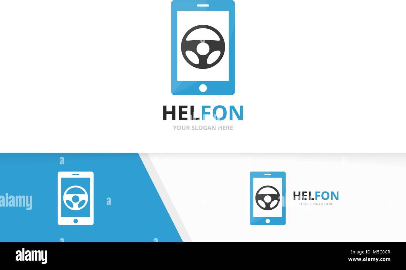 Coche de vector logo teléfono helm y combinación. Volante y mobile ...