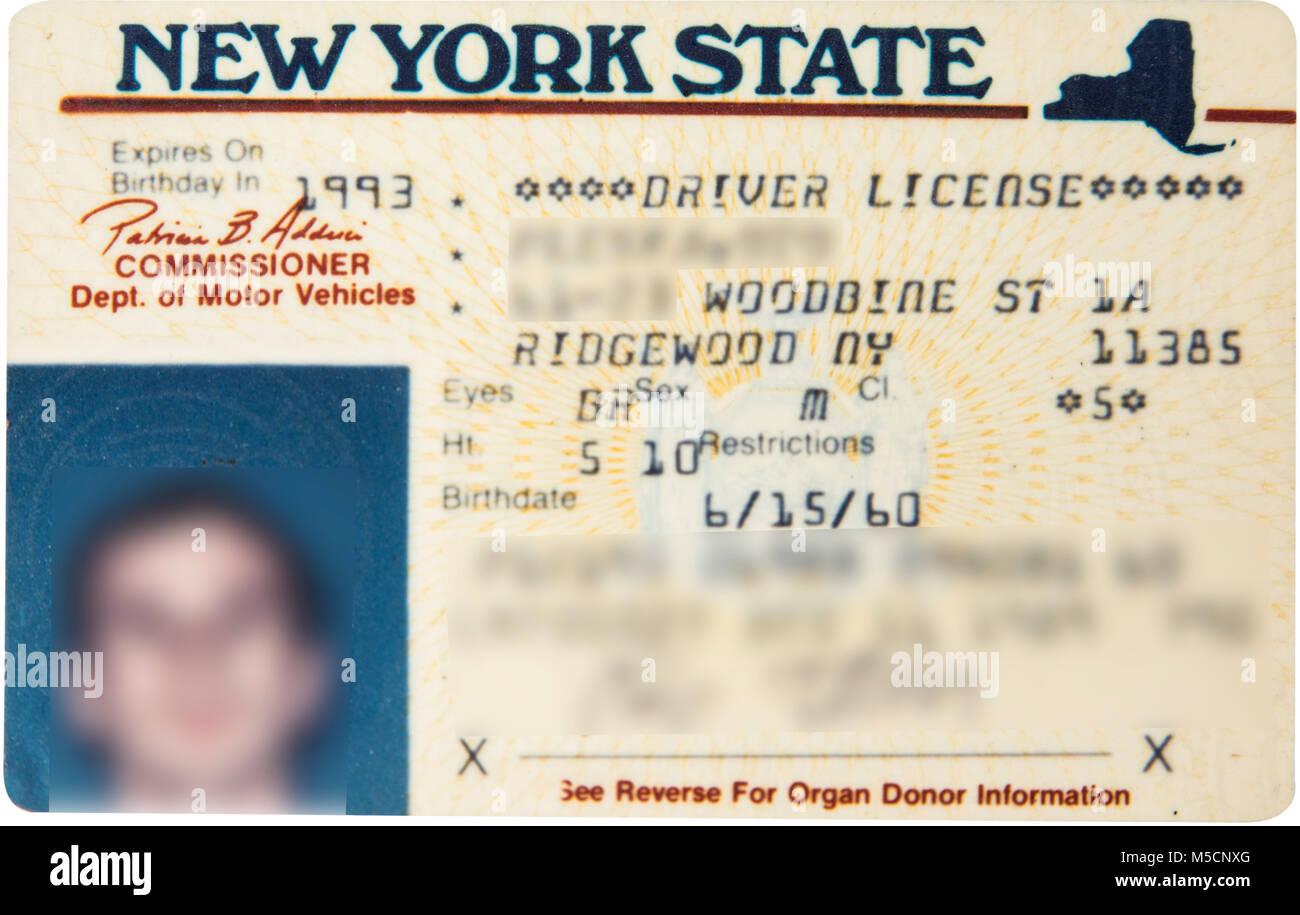 Licencia de conducir del estado de Nueva York para el coche. Imagen De Stock