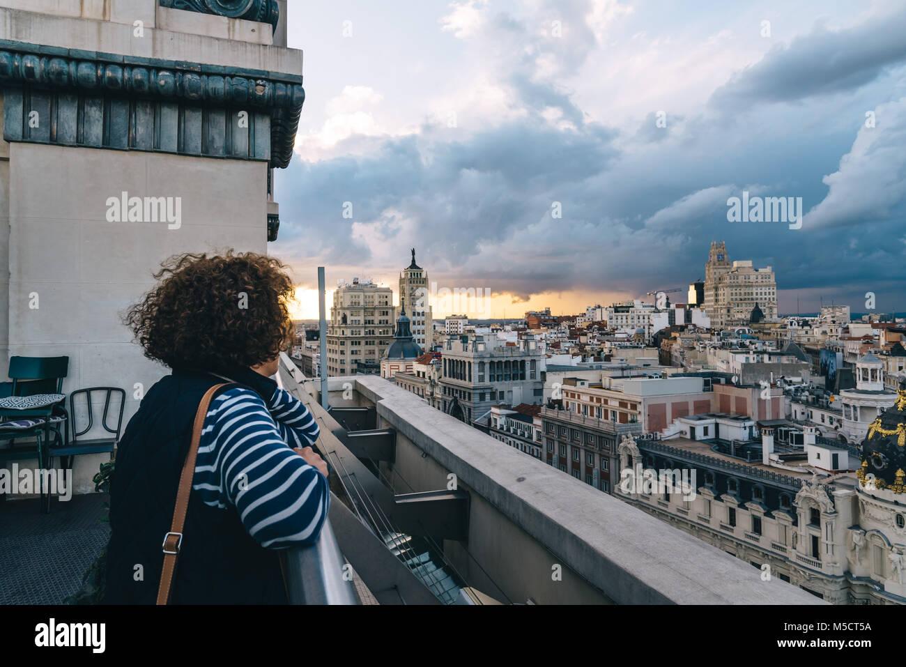 Bar Roof Terrace People Trendy Madrid Imágenes De Stock