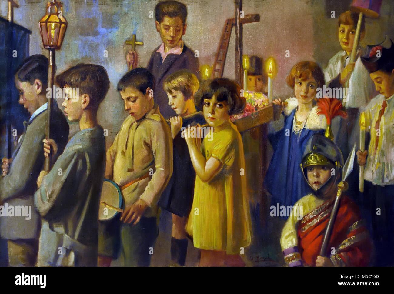 Cruz de mayo en Jaén - pueden cruzar en Jaén 1930 José Nogue Masso 20ª siglo, España, español ( la escena representa Foto de stock