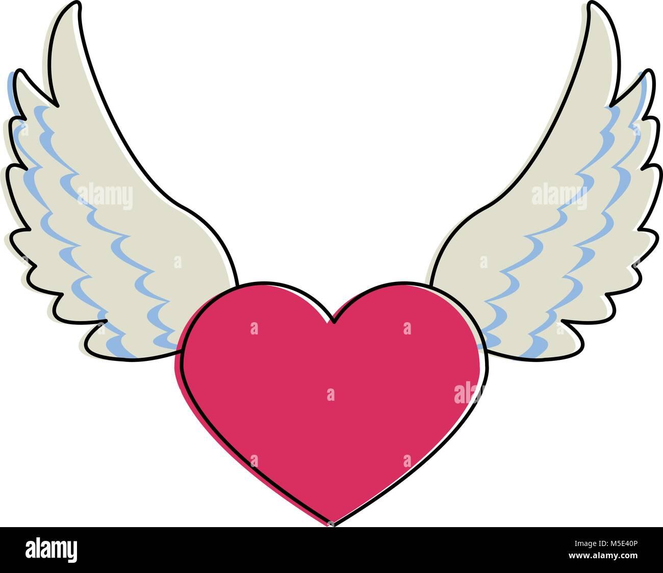 Corazon Con Alas Y Cinta Banner Ilustración Del Vector Imagen