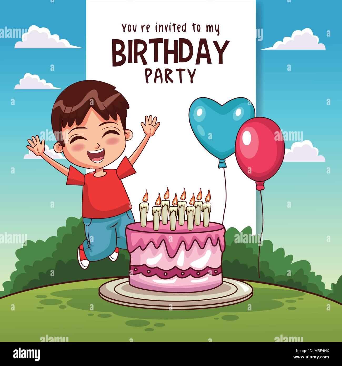 Tarjeta De Invitación A Fiesta De Cumpleaños Para Niños