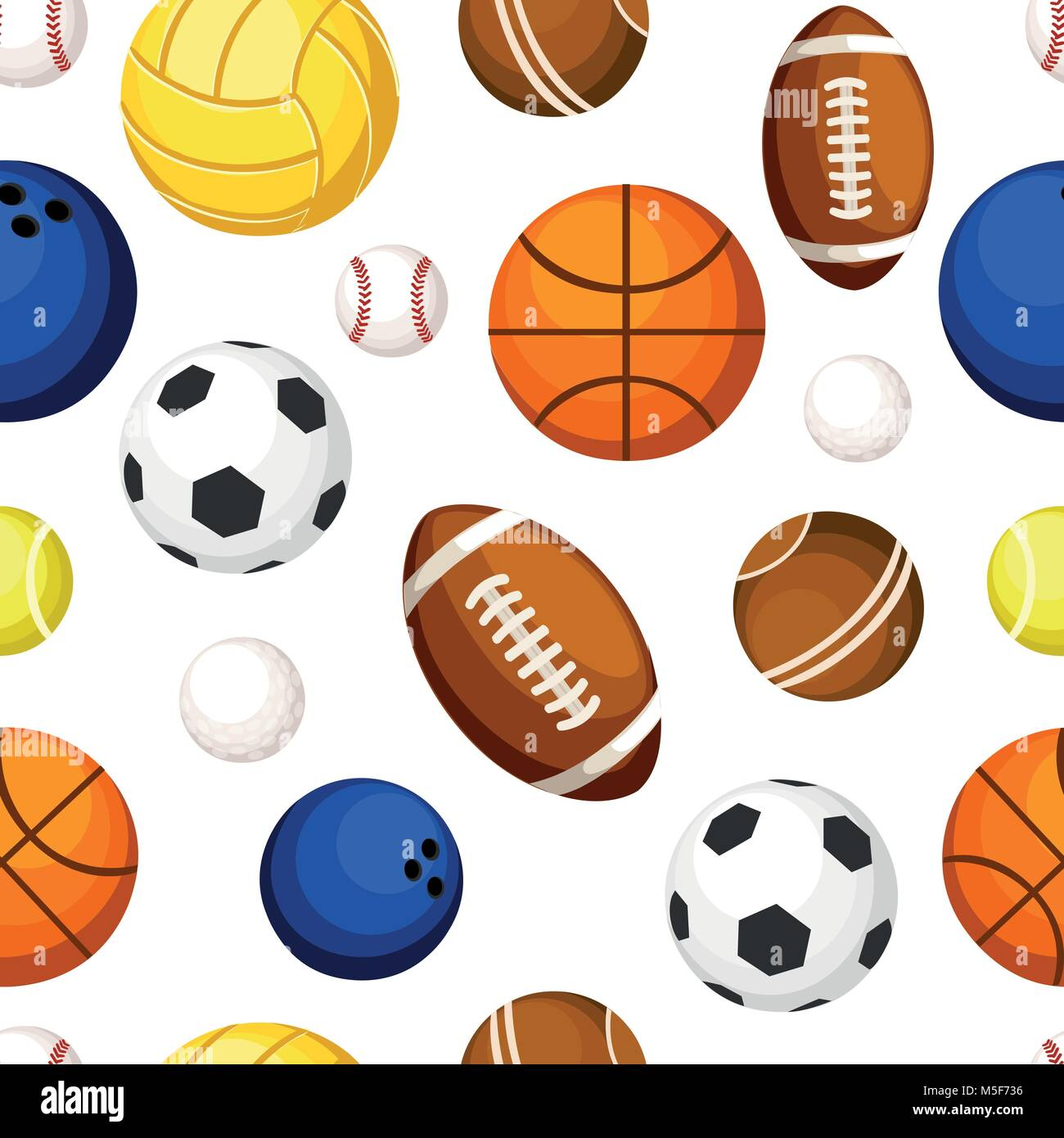 Patrón sin fisuras de balones deportivos de baloncesto béisbol bolos fútbol  rugby tenis volleyball Imagen De 98ea410df38df