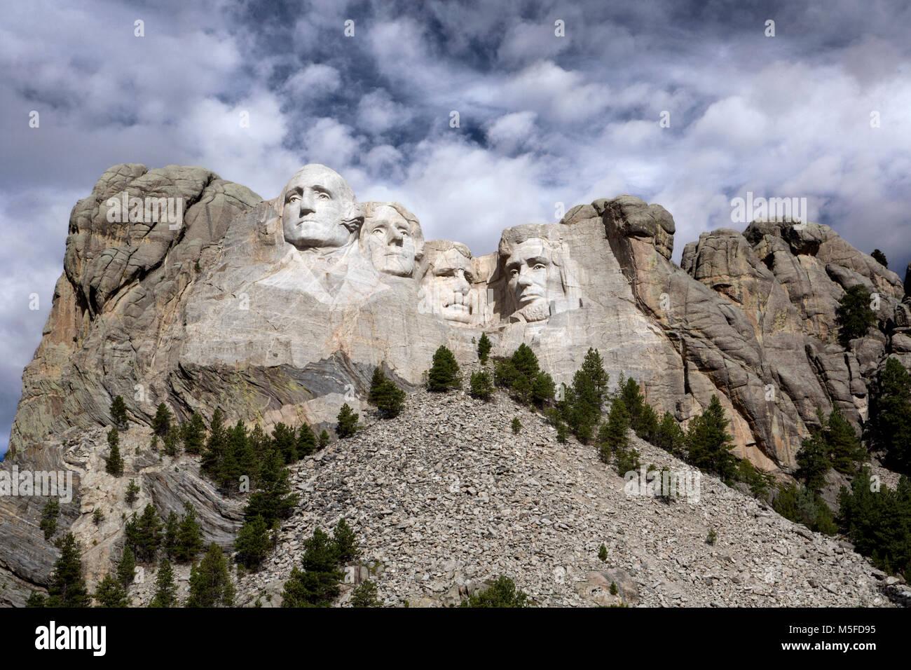 SD...00027-00 South Dakota - Presedents Georg Washington, Thomas Jefferson, Theodore Roosevelt y Abraham Lincoln Imagen De Stock