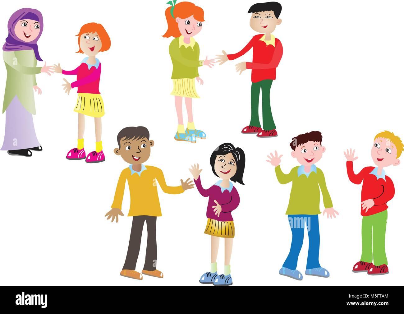 Ocho Niños De Dibujos Animados Y Otro Saludo Ilustración