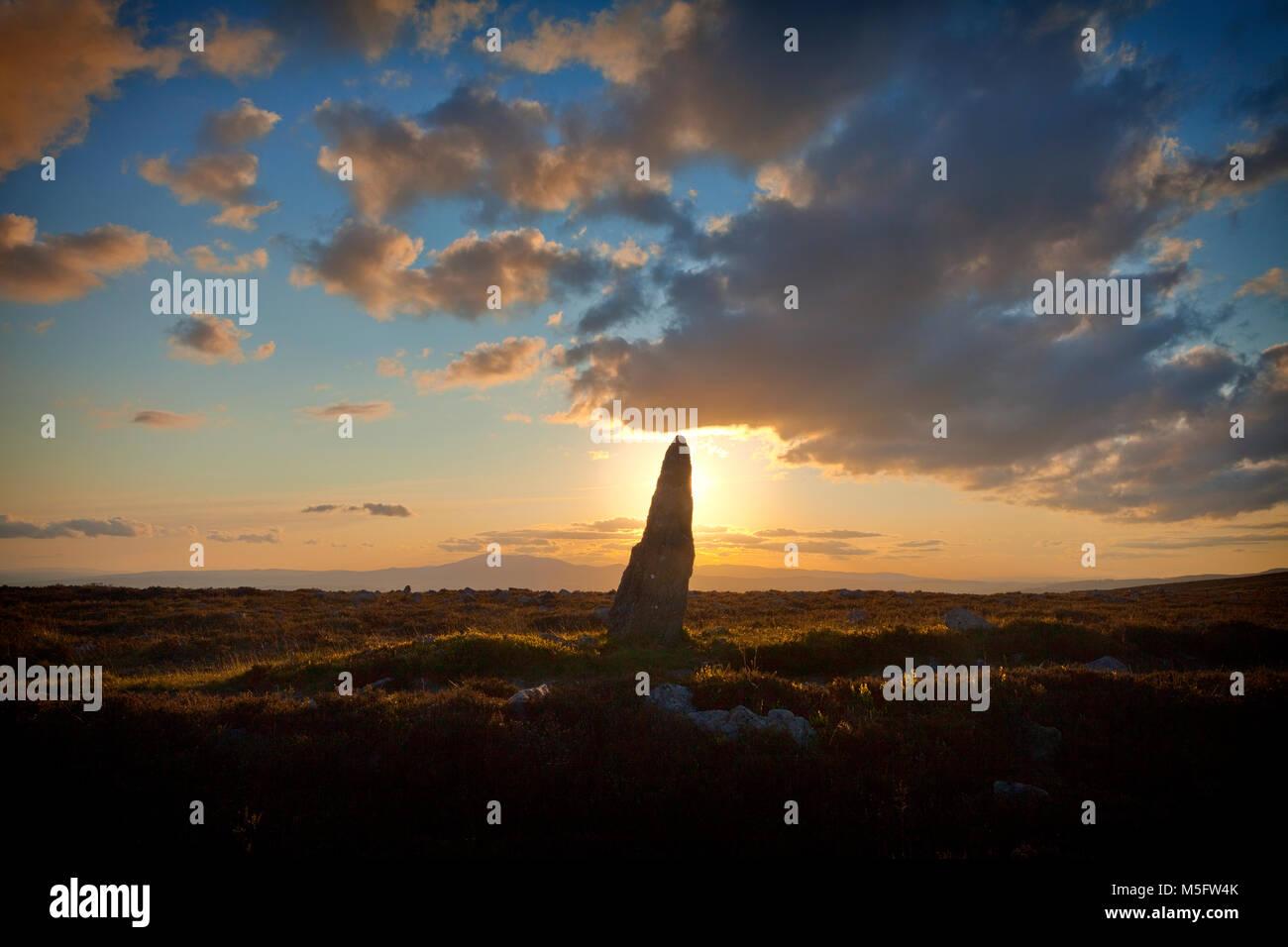 Treenearla aka piedra Menhir permanente al lado de una pista fuera de las montañas Monavullagh Mauma Pass, en el condado de Waterford, Irlanda. Foto de stock
