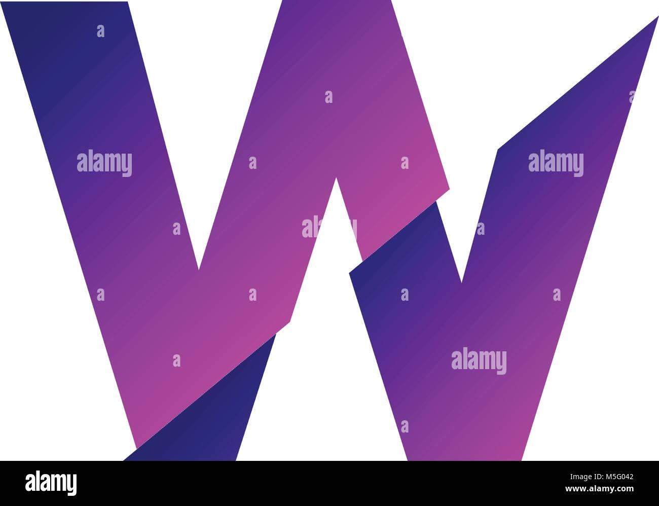 resumen la letra w logo fuente vectorial  carta de esquema