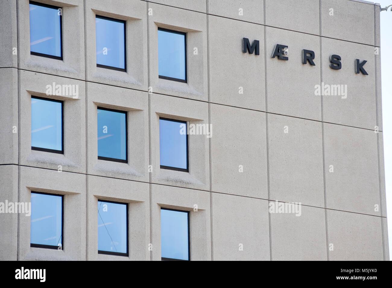 Sedes de A.P. Moller Maersk Group, conglomerado empresarial danesa en el transporte, la logística y el sector energético, uno de los mayores buques portacontenedores ope Foto de stock