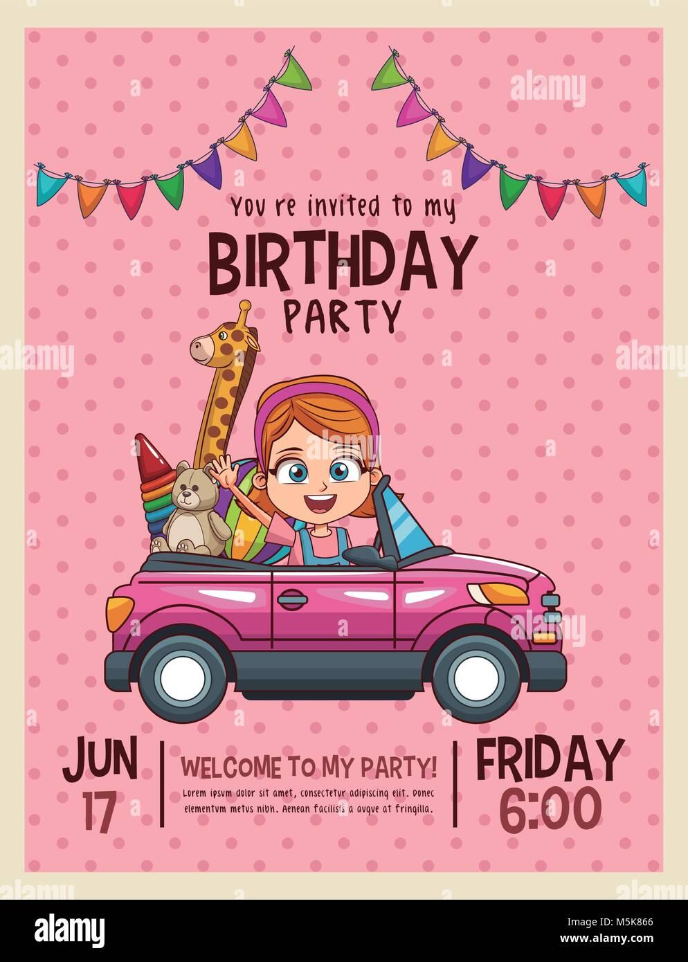 Tarjeta De Invitación De Cumpleaños Para Niños Ilustración