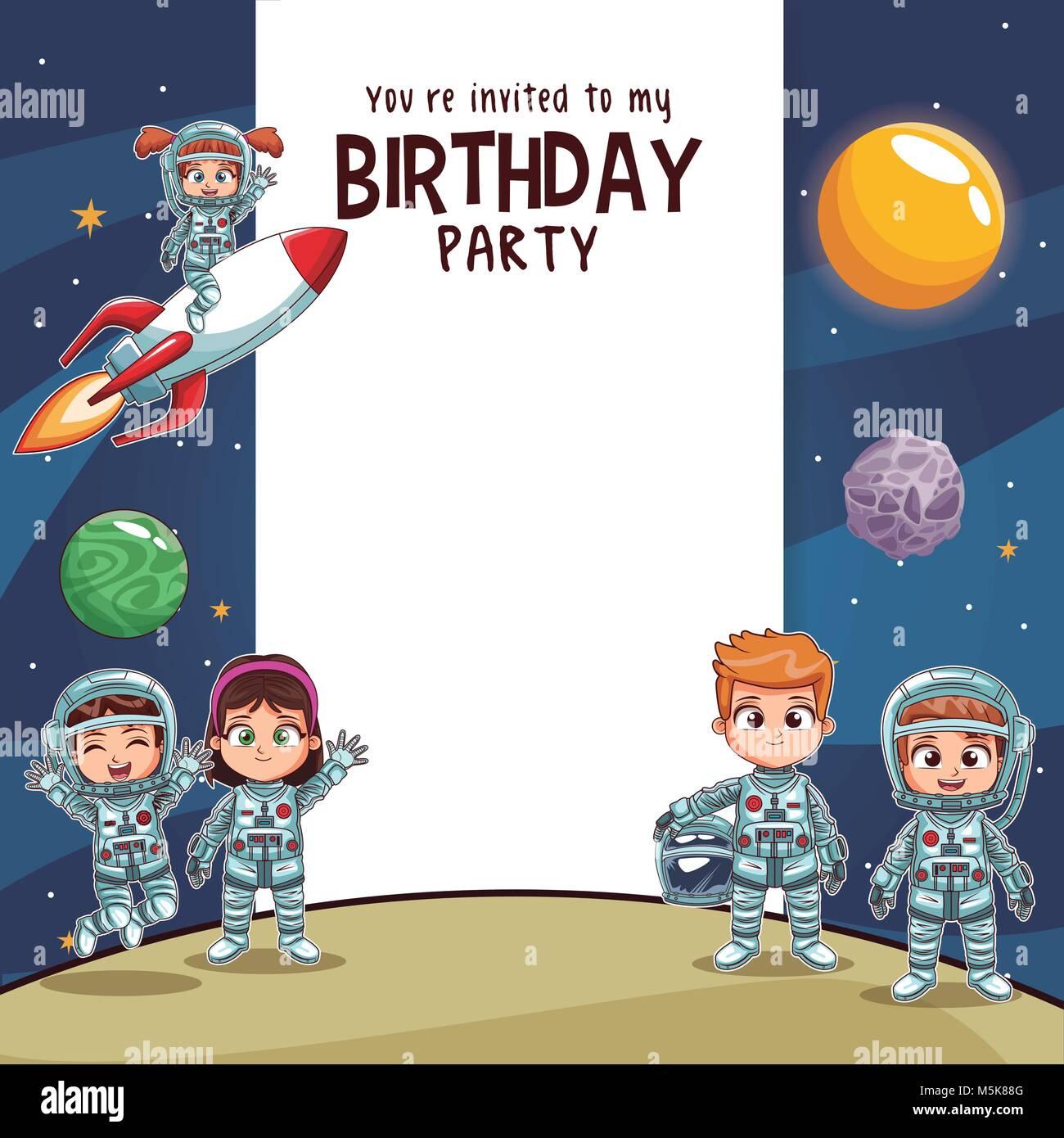 Tarjeta De Invitación De Cumpleaños Fiesta Kids Ilustración