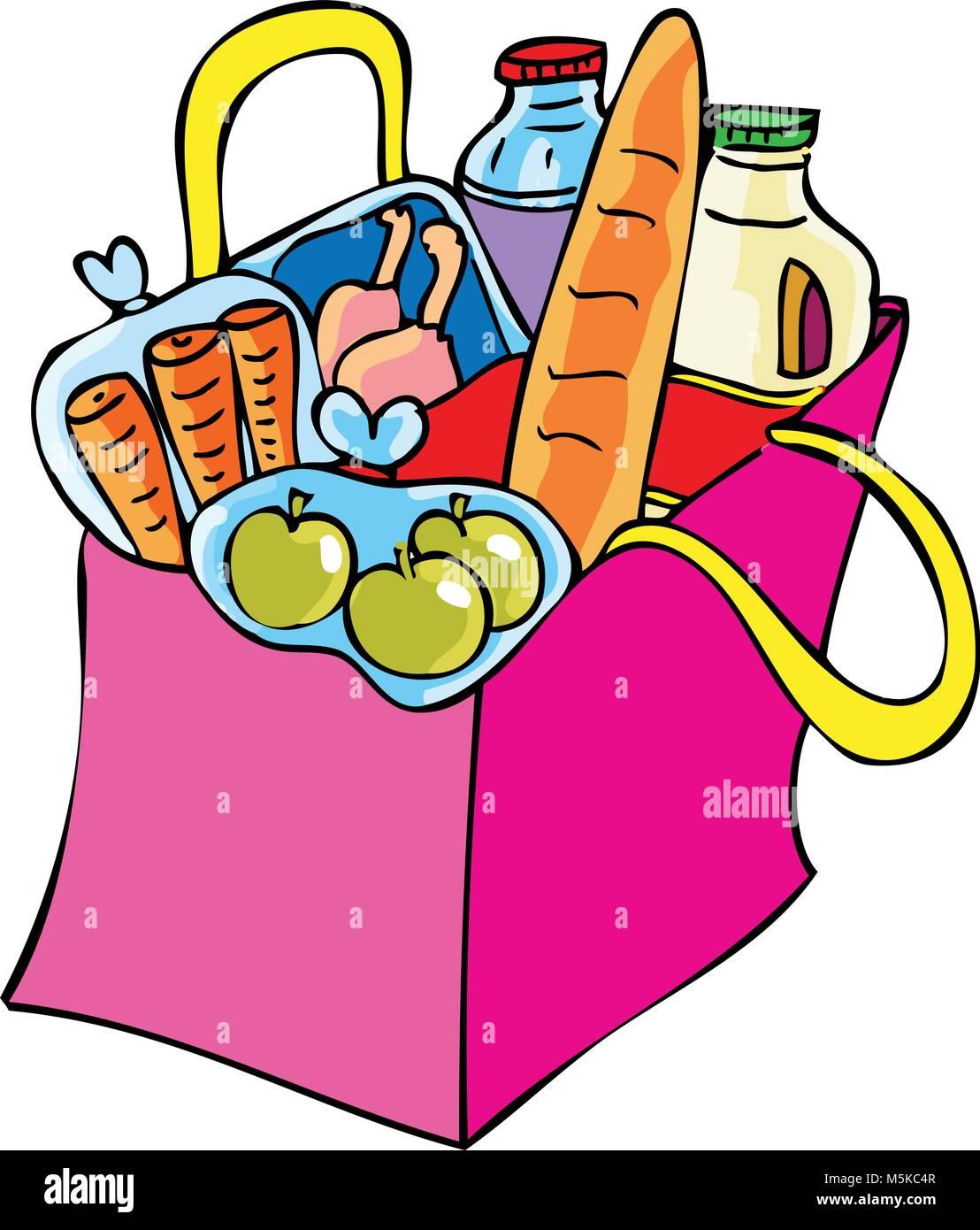 Una caricatura de la bolsa de compras de comestibles Ilustración del Vector