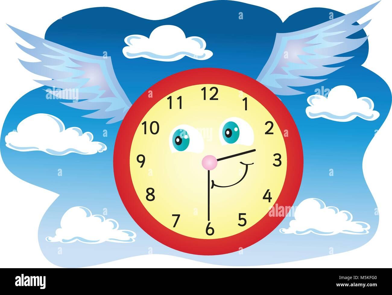 Reloj Vector Volando Aire Del Caricatura Por Una El Ilustración 8On0wPk