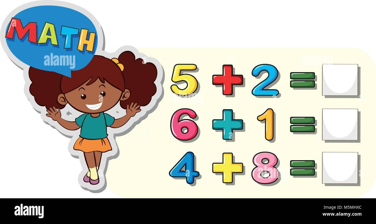 Hoja de cálculo matemático para la adición ilustración Ilustración ...