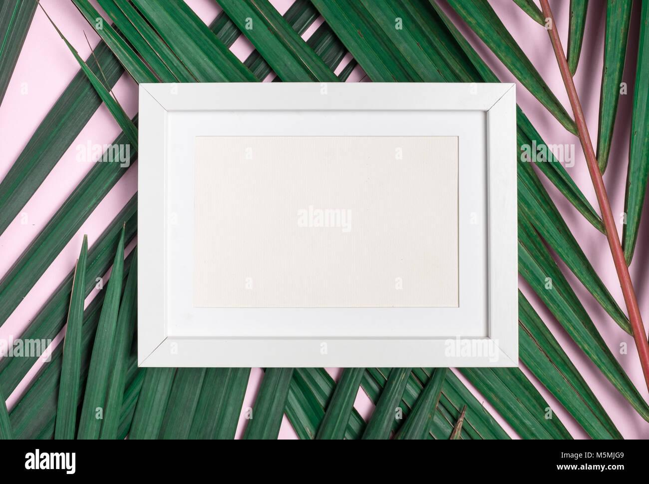 Vista superior del marco de fotos en blanco sobre verde hoja de ...