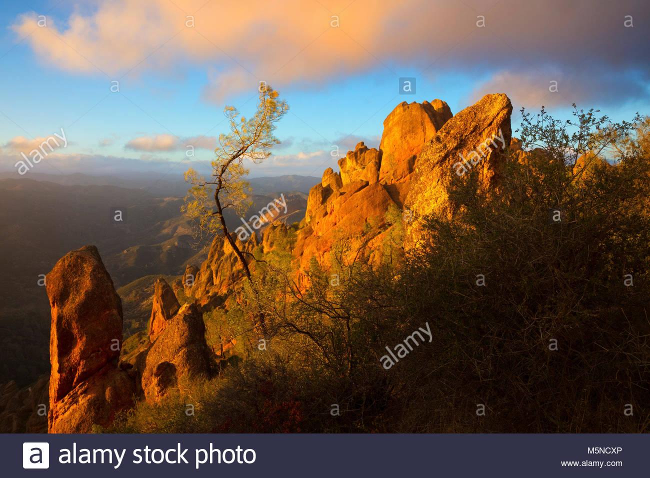 La luz dorada del atardecer destaca el duro entorno, cerca de la Cumbre de las Altas Cumbres en Pinnacles National Imagen De Stock