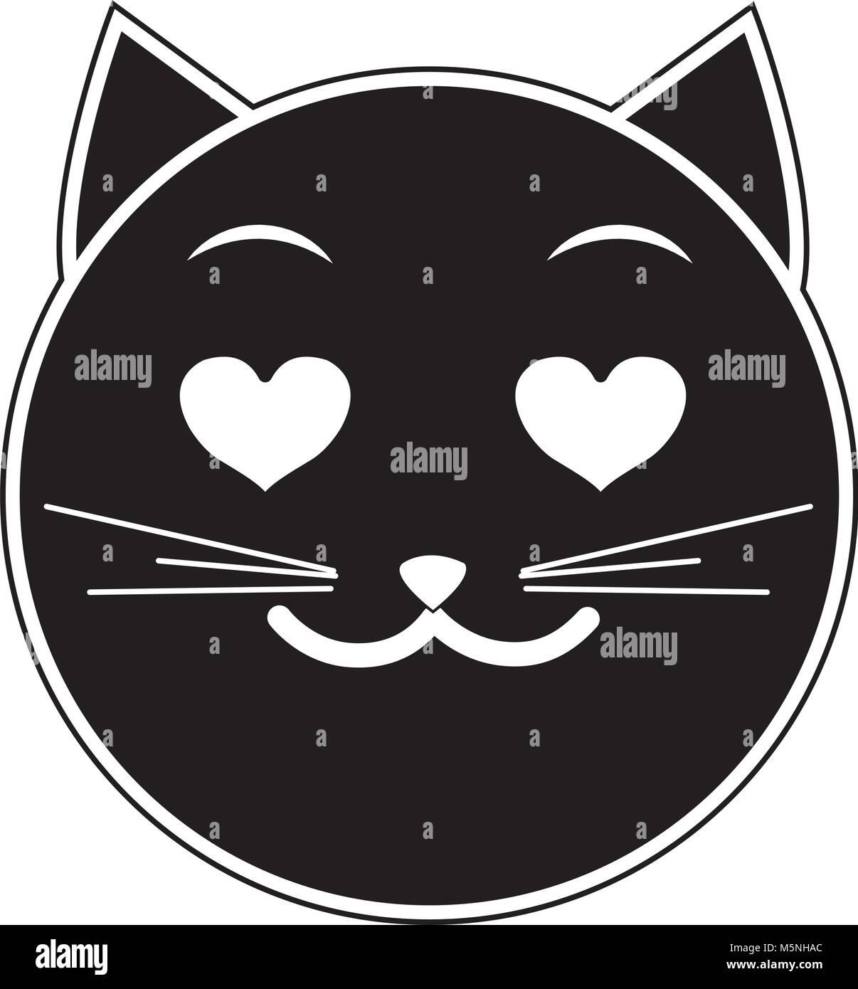 Silueta De Cara De Gato Enamorado Emoji Expresión Ilustración Del