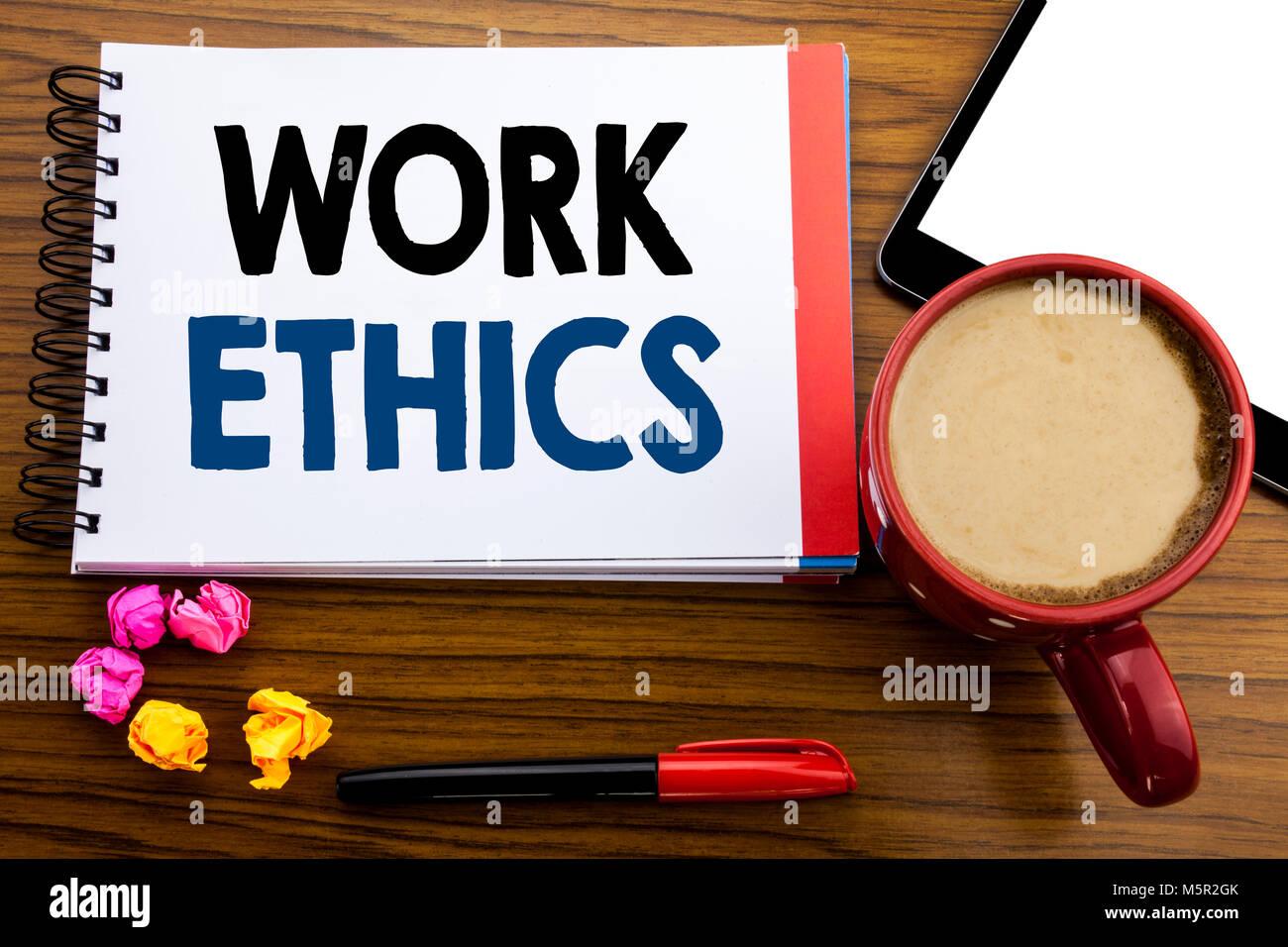 Texto Manuscrito Mostrando La Etica Del Trabajo Concepto De Negocio