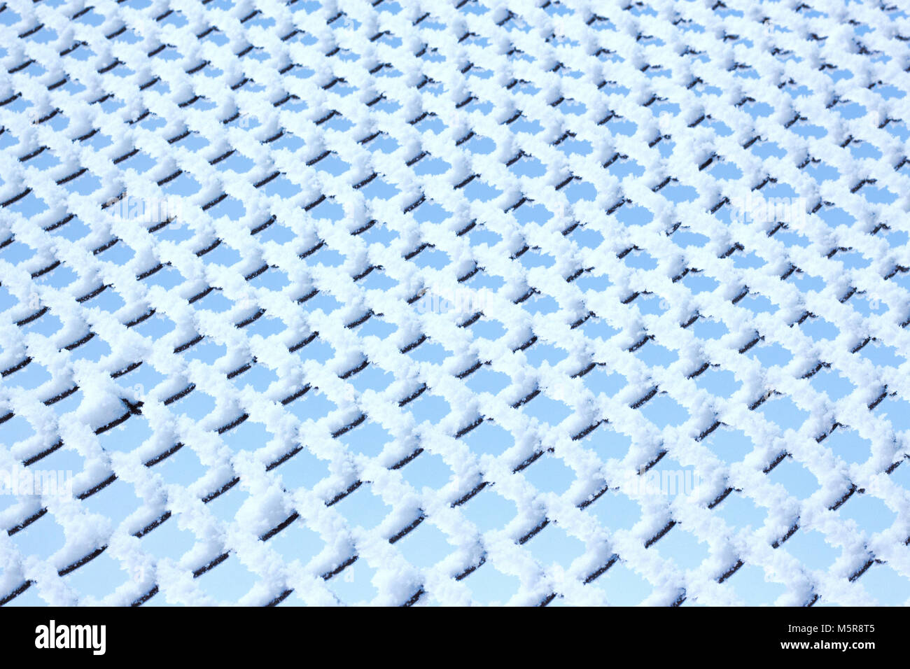 Rombos de metal en la textura de la valla de escarcha Foto de stock