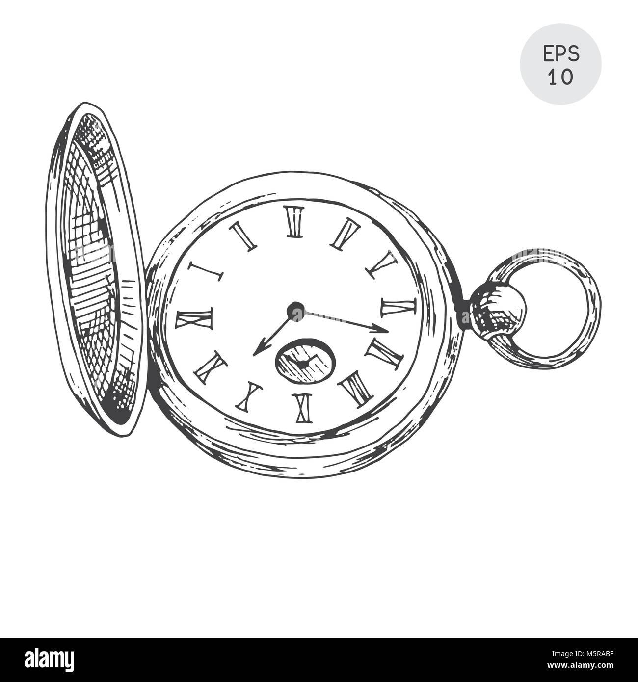 Sobre Blanco Aislado Reloj Fondo En Retro Bolsillo De Estilo QdCoWrBxe
