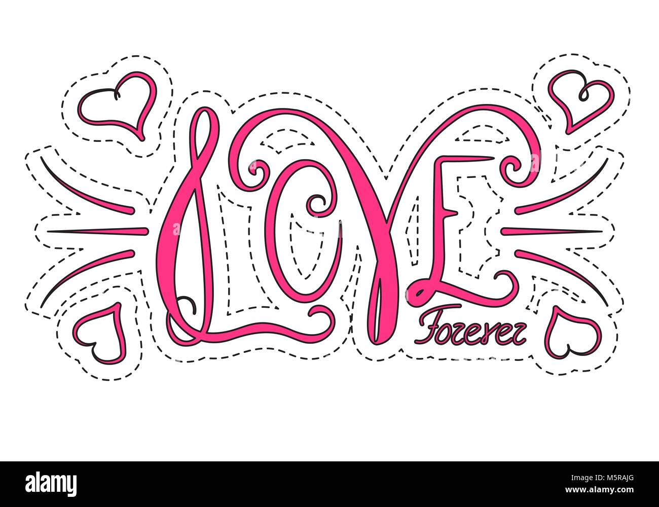 Frase Dibujada A Mano Para Siempre El Amor Diseño De Letras