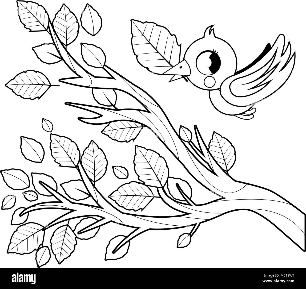 En El Otoño De Aves Volando Y La Rama De árbol Con Hojas