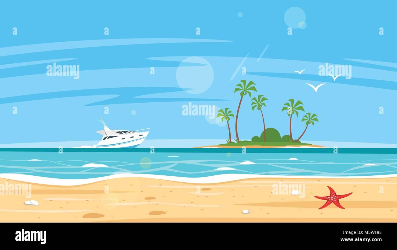 Estilo De Dibujos Animados De Vectores Fondo De Mar E Isla