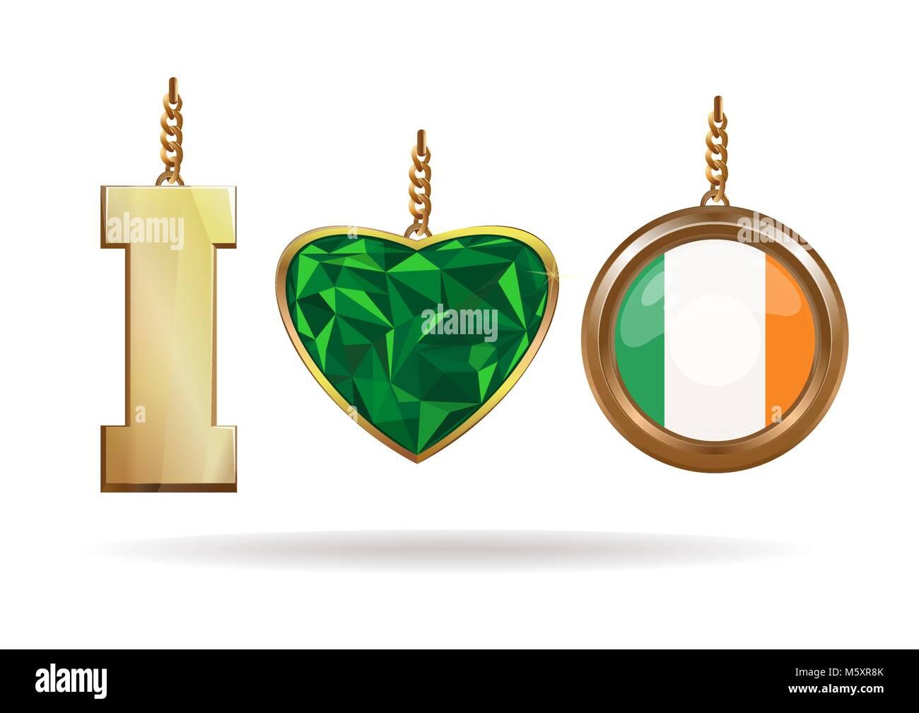 Me encanta Irlanda. Joyería patriótica. Corazón Esmeralda en un ...
