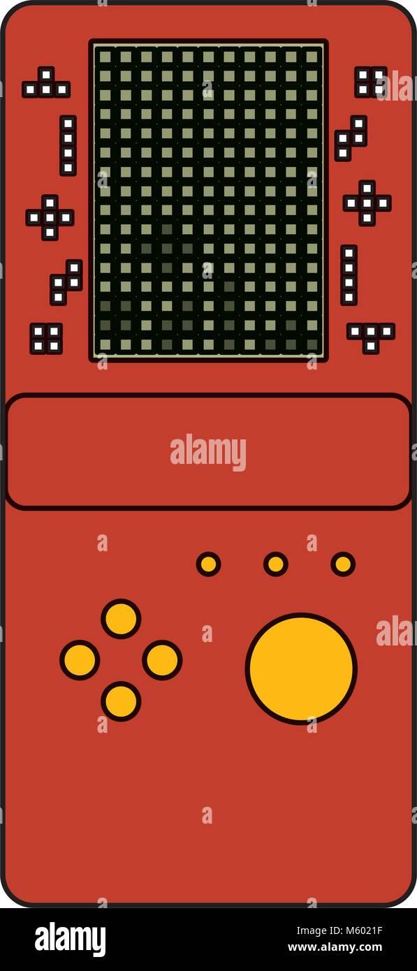 Consola De Juegos Portatil Retro Juego Tetris Ilustracion Del Vector