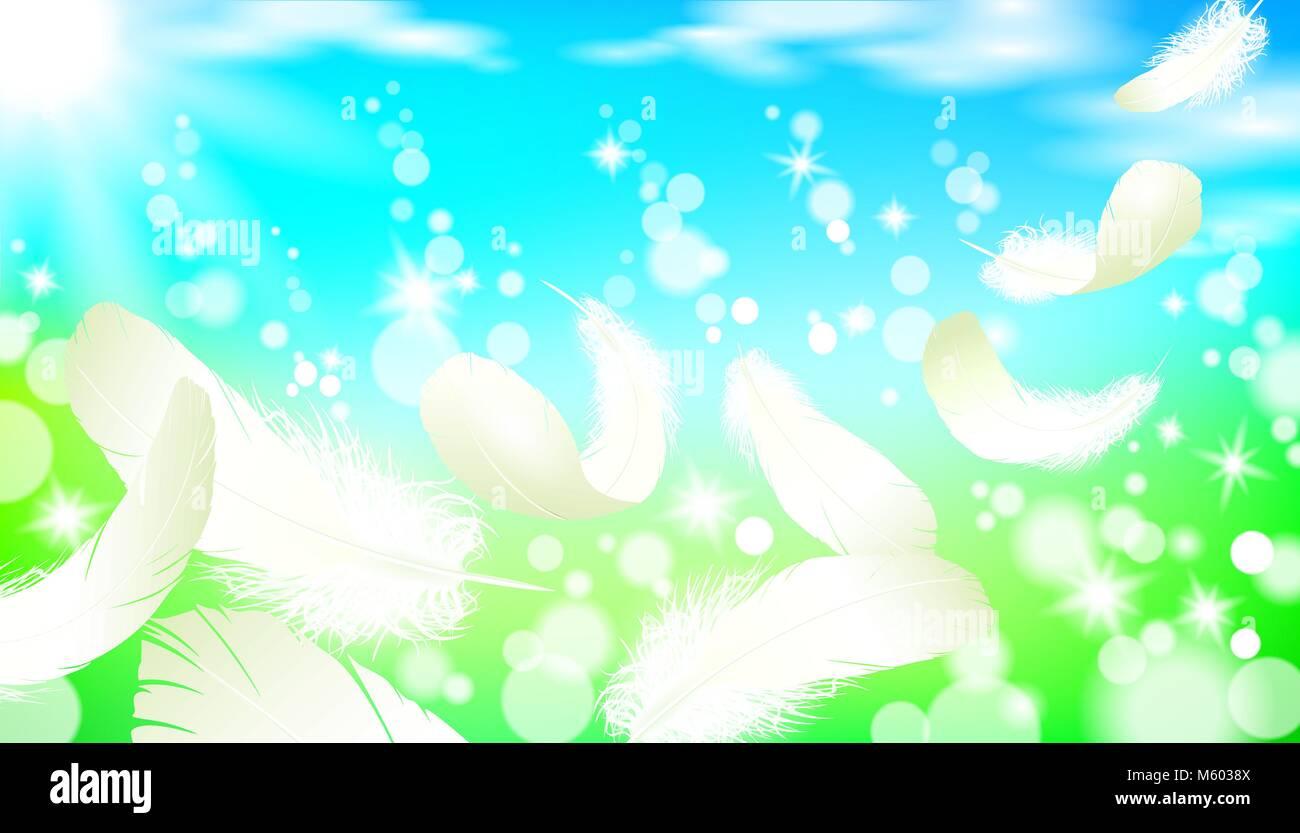 Realista paisaje primaveral soleado cielo azul de césped verde luz ...