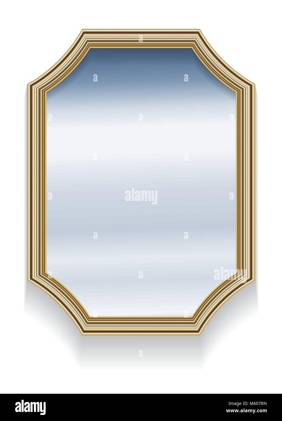Espejo en retro vintage marco de borde de madera octogonal ...