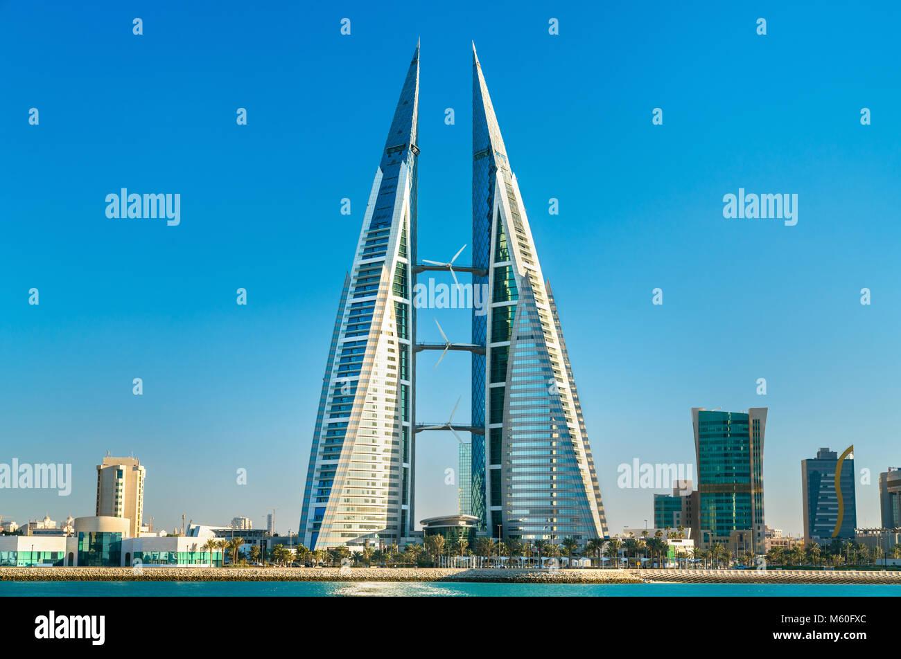 Bahrain World Trade Center, en Manama. El Oriente Medio Imagen De Stock
